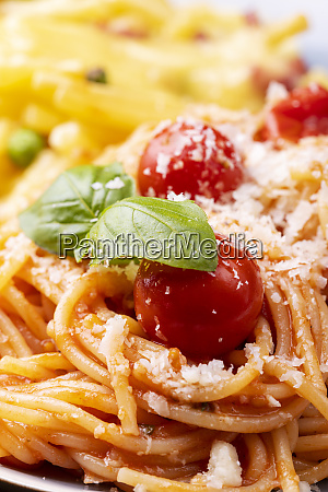 closeup of spaghetti with tomatoes and