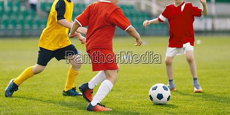 children play soccer game on grass