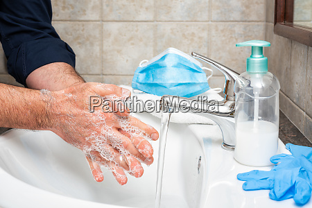 mask gloves and hand washing to