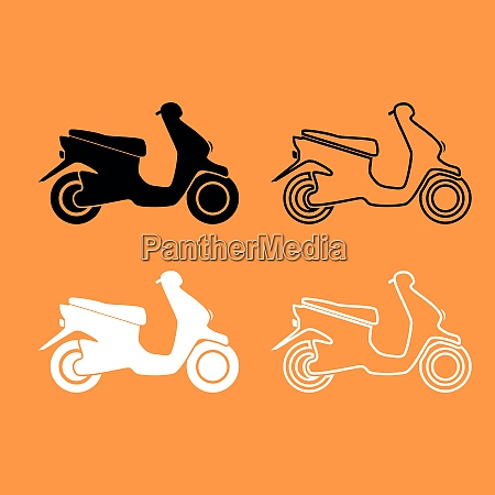 scooter black and white set icon
