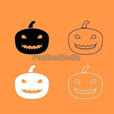 horror pumpkin black and white set
