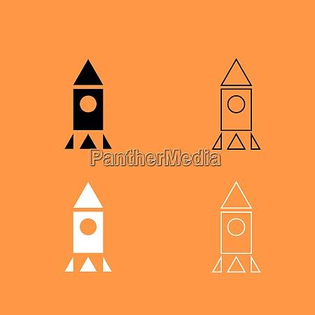 rocket black and white set icon