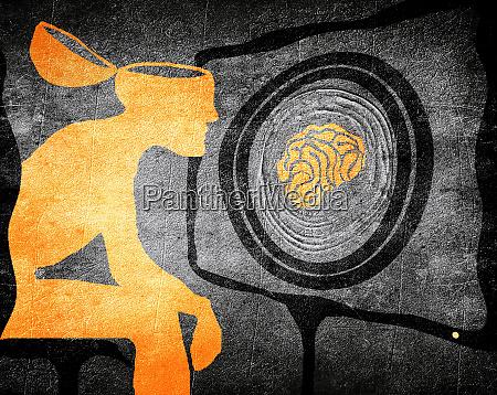 man looking tv washing brain illustration