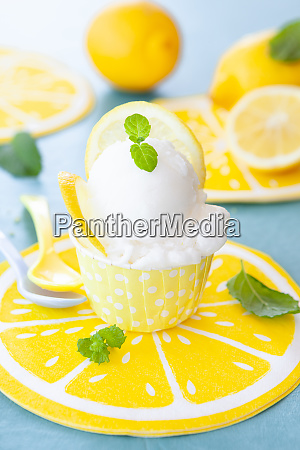 cold lemon sorbet