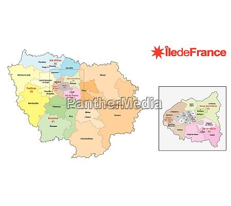 ile de france region administrative and