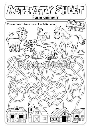 activity sheet farm animals 1