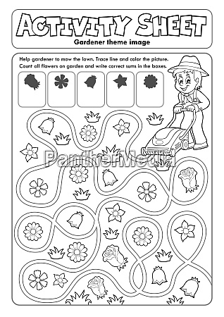 activity sheet gardener theme 1