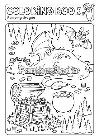 coloring book dragon and treasure chest