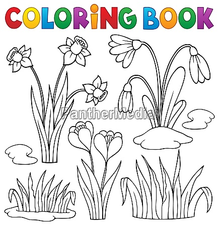 coloring book early spring flowers set