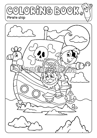 coloring book pirate boat theme 2