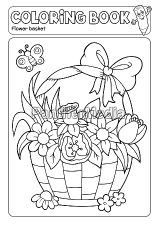 coloring, book, flower, basket, theme, 2 - 28350758