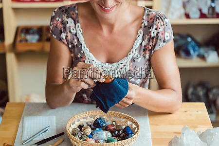 woman dusting her minerals