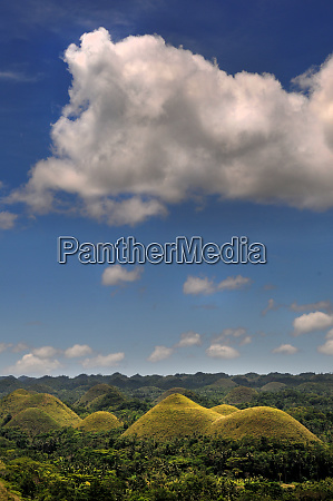 chocolate hills with clouds on bohol