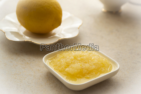 puree of lemon on light background