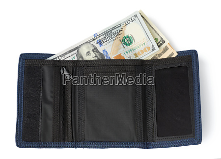 open blue textile wallet with one