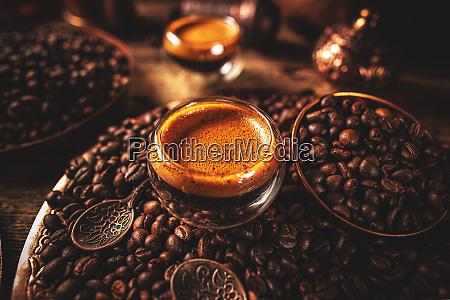 hot freshly brewed espresso coffee
