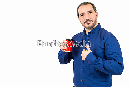 40s man holding tin can with