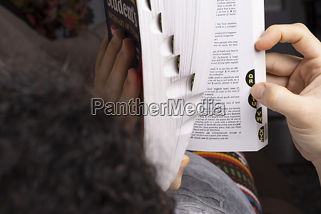 young woman browse words through english