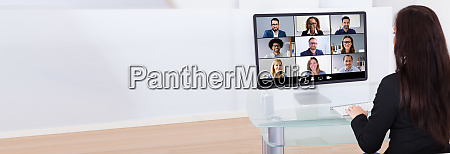 businesswoman having video conference
