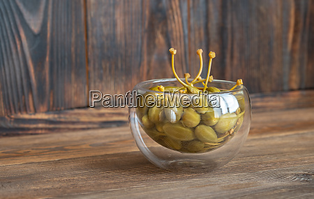 glass bowl of capers