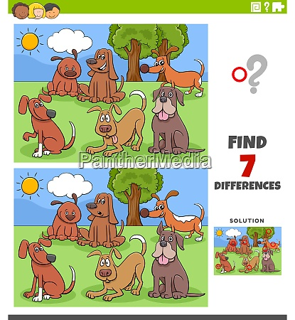 differences educational task with cartoon dogs