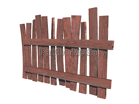 old wooden crooked garden fence