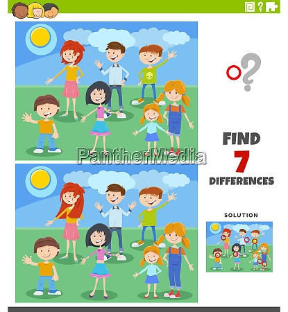 differences educational task with cartoon children
