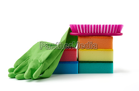 items for home cleaning green rubber