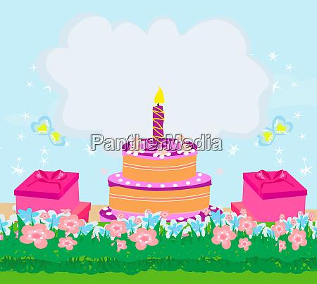 happy birthday card girlish invitation