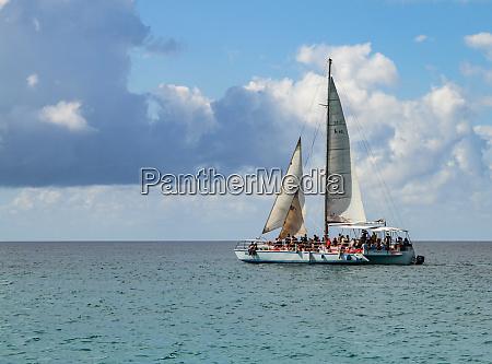 tourist sailboat near the dominican republic