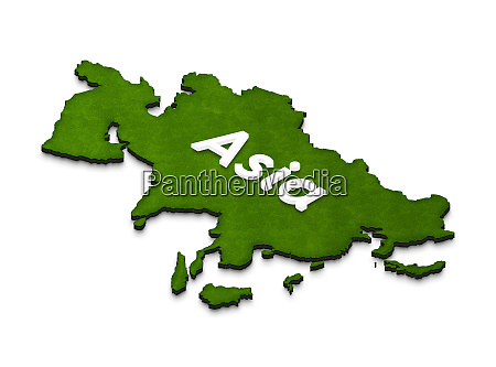 map of asia 3d isometric illustration