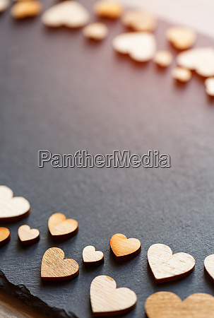 valentines day background little wooden hearts
