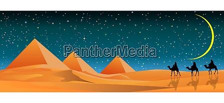 starry night over sandy desert and