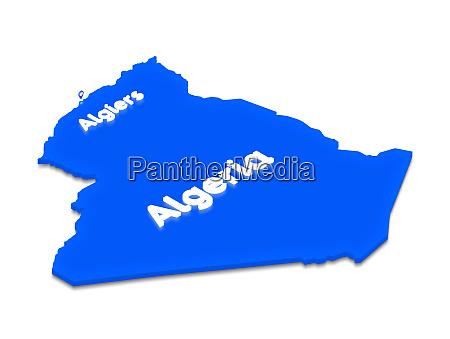 map of algeria 3d isometric perspective
