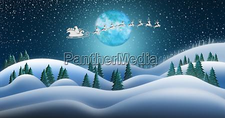 santa clause and reindeers sleighing through