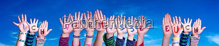children hands building word ich vermisse