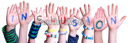 children hands building word inclusion isolated