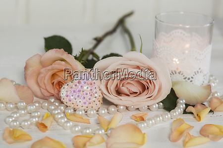 romantic roses still life with pearls