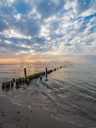 groynes on shore of the baltic