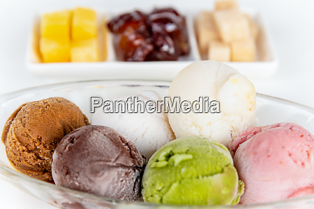 close up multi colored ice cream