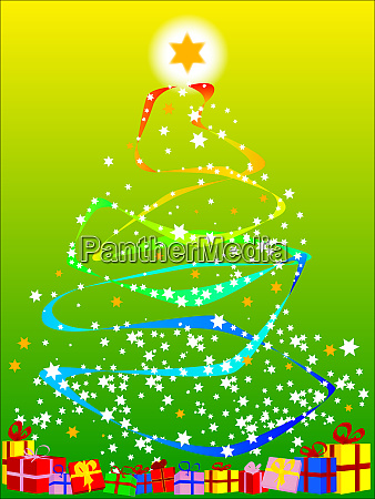 ribbon and star christmas tree