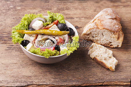 fresh greek salad with olives