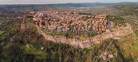 panoramic aerial view of orvieto terni