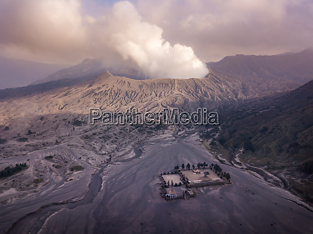 aerial view of active volcano bromo
