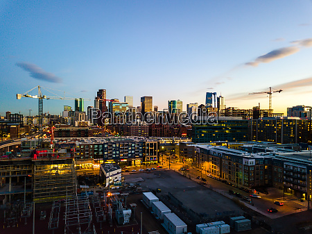 aerial view of city skyline from