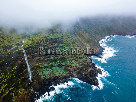 aerial view of waterfall on the