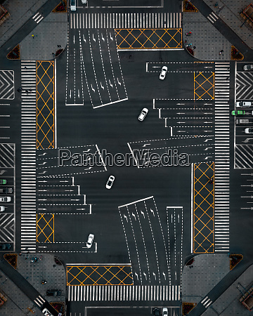 aerial view of an intersection in