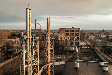 aerial view of the abandoned factory