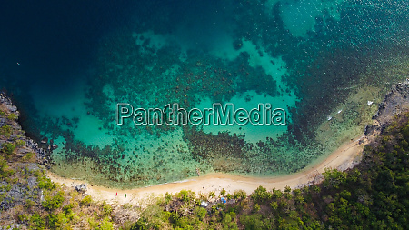 aerial view of beach and reef