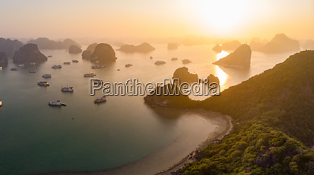 panoramic aerial view of sunset in